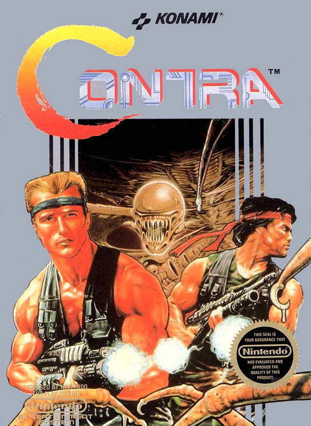 It's Rambo and Matrix fighting against the Xenomorph! No wonder everybody **loved** Contra.