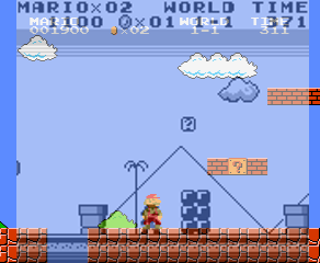 *Super Mario Land* superimposed over *Super Mario Bros.* You can see how the space ahead of Mario is very similar.