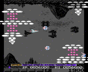 Here's *Nemesis* over *Gradius* to show that even though *Nemesis* has relatively bigger ships, they're not too big. You still have a good amount of space to move in.