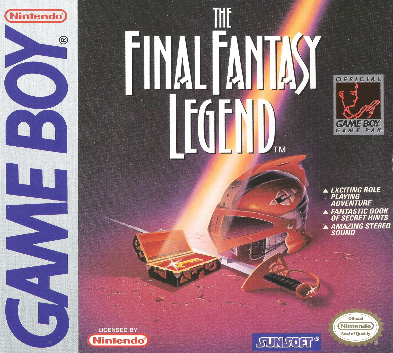 The North American box art used a unique *Final Fantasy* logo that was meant to be used for the series but was shortly afterwards abandoned.